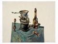 Louis Pons, Nature morte gouache et crayon de couleurs sur papier - N°-504 - 1952 - 50x65 cm